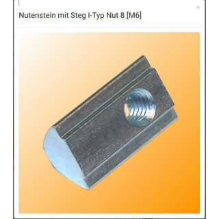 Nutenstein [M6]  mit Steg I-Typ Nut 8